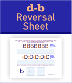 d-b reversal printable sheets for dyslexia letter reversals