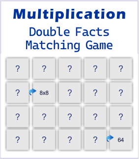 Multiplication double facts printable matching game