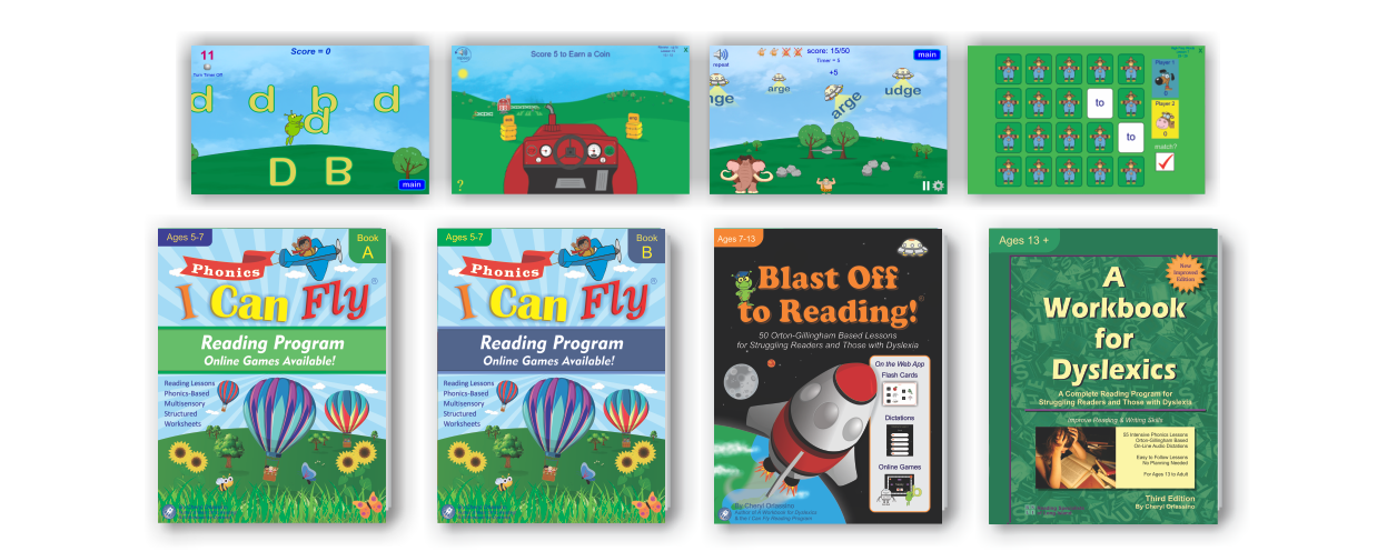 Lesson based workbooks for dyslexia which includes online games and tools.