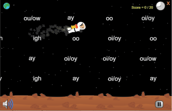 Phonics practice game for reading program for dyslexia, BlastOffToLearning.com