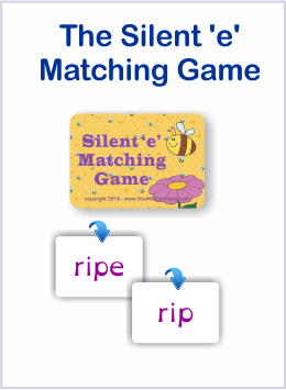 the silent 'e' matching game